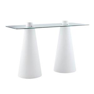 Mange-debout lumineux double Peak avec plateau en verre rectangulaire